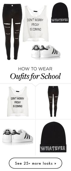 School outfit by jordys-fashion on Polyvore featuring River Island, adidas Originals and Local Heroes