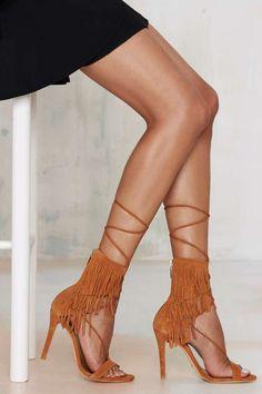 Schutz Kija Fringe Suede Heel - Brown   Shop Shoes at Nasty Gal!