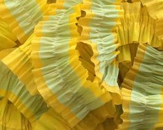 Seafoam Green and Canary and Yellow Gold Ruffled Streamers, 36 ft.