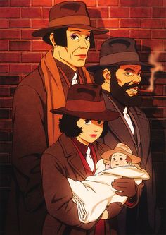 Satoshi Kon's Tokyo Godfathers characters looking like… The Godfather. Illustrated by Satoshi Kon and featured in the art book Kon's Works 1982-2010.