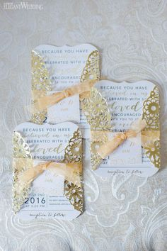 Gold Invitations With Gatefold Enclosure | Classic Wedding in Vancouver Using Blush & Gold www.elegantwedding.ca
