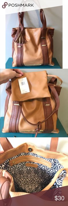 Steve Madden Tan Leather Tote NWT Steve Madden Tan Leather Tote medium sized, with mini pouch inside and attached, New With Tags Steve Madden Bags Totes