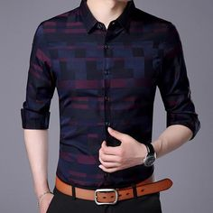 Men Shirt For Men Casual Business Shirts New Arrival Men Famous Brand Clothing Plaid Long Sleeve Male Shirt Stylish Mens Fashion, Stylish Mens Outfits, Womens Fashion, Casual Outfits, Business Shirts, Business Casual, Business Formal, Look Cool, Men Casual