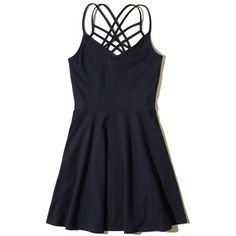 Hollister Strappy Knit Skater Dress ($16) ❤ liked on Polyvore featuring dresses, navy, knit dress, strap dress, strappy dress, navy blue dresses and navy skater dress