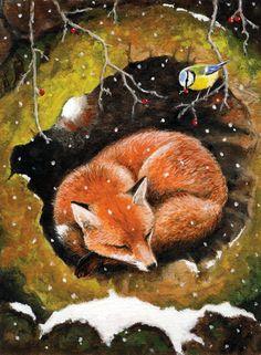 "Lisa Haderlie Baker Art and Illustration: ""A Winter Nap"", Gouache on rag paper. Fox Tattoo, Fox Art, Fox Design, Cute Animal Drawings, Online Portfolio, Rug Hooking, Floor Mats, Gouache, Painted Furniture"