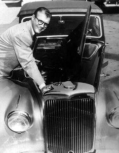George Reeves' (The Original Superman), with his 1953 Alvis Drophead Convertible, which was a gift from his girlfriend Toni Mannix, and reportedly is one of only five ever made! Hollywood Men, Golden Age Of Hollywood, Hollywood Stars, Classic Hollywood, Supergirl Superman, Batman And Superman, Superman Stuff, 1950s Movie Stars, Original Superman