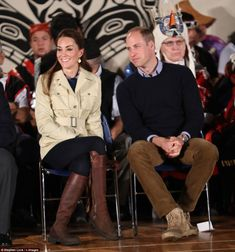 Smiling as they sit side by side, the Duke and Duchess of Cambridge are welcomed by the He...