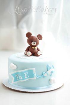 Teddy Bear & Airplane Blue Cake