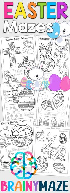 Free Easter Mazes for Kids! 13 Fun & Educational Mazes including Easter Cross Maze, Easter Bunny Maze, Easter Egg Maze, Jelly Beans, Easter Basket, Peeps and more! Perfect for your Easter Lesson.