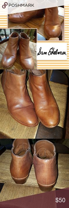 Sam Edelman side zip boots 7.5 Nice pre-loved condition with overall normal wear but nice boots with 1.5 inch heel in leather. No original box. Reasonable offers always welcome. No bundling of shoes over 5 lb Sam Edelman Shoes Ankle Boots & Booties