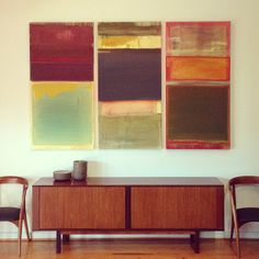 houston mid century painting commission by shay spaniola for bunglo // interior design