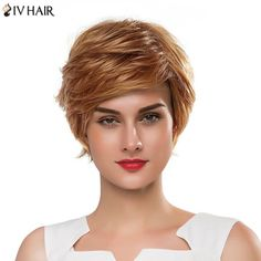 Vogue Short Fluffy Side Bang Women's Siv Human Hair Capless Wig #>=#>=#>=#>=#> Click on the pin to check out discount price, color, size, shipping, etc. Save and like it!