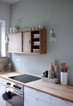Kitchen with natural wood counters and upper cabinets. White lower cabinets and Minimalist Kitchen Cabinets counters Kitchen natural Upper white Wood Kitchen Furniture, Kitchen Interior, New Kitchen, Kitchen Decor, Kitchen Wood, Kitchen White, Kitchen Ideas, Kitchen Things, Diy Furniture