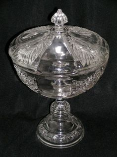"""EAPG BRILLIANT covered compote, made by Riverside Glass Works, circa 1895, 8.75""""D with lid (8.5""""D without lid) x 12.5""""H"""