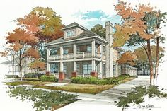 Vignette style perspective renderings provide a softer more informal presentation than their detailed and specific counterparts. Watercolor Architecture, Architecture Drawings, Architecture Plan, Landscape Architecture, New Urbanism, Landscape Drawings, Anime Scenery, House Painting, Home Art