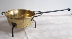 Large Hand Forged Antique French Château Kitchen Colander, Strainer, Passoir. Brass, Wrought Iron, copper rivets (2068)