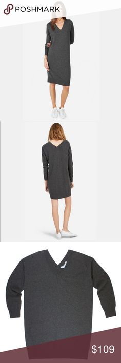 """New EVERLANE Gray 100% Cashmere Sweater Dress NWOT. This new gray Cashmere sweater dress from EVERLANE features a v-neckline in front and back, relaxed fit and drop sleeves. Made of 100% Cashmere. Measures: bust: 45"""", total length: 35"""", sleeves: 20"""" Everlane Dresses"""