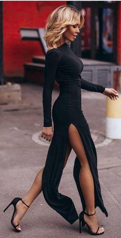 fc26430f775  fall  outfits women s black long sleeve dress Long Sleeve Black Dress