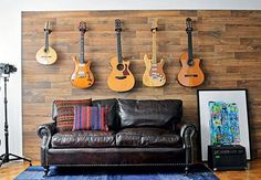 If you have music studio where you are holding guitars or you are guitar collector, you will find this ideas very useful and helpful. Home Studio Musik, Music Studio Room, Guitar Wall, Guitar Room, Decoration Palette, Guitar Display, Guitar Storage, My Room, Family Room