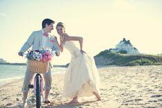 Fun Photos with the Bride & Groom on the Beach in Watch Hill RI - westerlyweddings.com     #VisitRhodeIsland