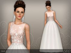 Wedding dress 46 for The Sims 3