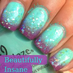 .Fun purple and aqua nail art with sparkles. Challenge accepted?