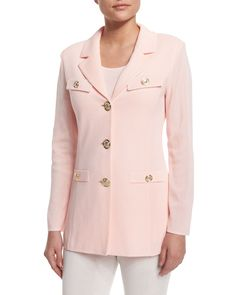 Dressed Up Button-Front Jacket, Rose Water