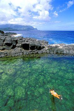 Queens Bath Near Princeville (Na Pali Coast Visible) North Shore Island Of Kauai Hawaii
