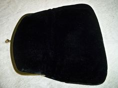 Vintage 1940s Black Velvet Evening Bag Clutch Purse by BlackRain4, $34.99
