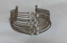Sterling Cats Eye bracelet, Vintage handmade Cuff style, multistrand, worewrapped bracelet, Southwestern cuff Gift for her, Gingerslittlems