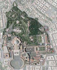 Aerial Map of Vatican City. This isn't quite the whole thing, but it is a great photo. The last scene in the book takes place here.
