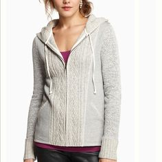 """Newry Hooded Sweater by Anthropologie I love this cute zip up hoodie by Anthropologie. It's By Saturday/Sunday Front zip Wool, nylon, cotton, polyester Hand wash. Love the detailing of the front and the sleeves. Worn only a few times. 16.5"""" across, 21"""" top to bottom. Excellent condition. Sold out Anthropologie Tops Sweatshirts & Hoodies"""