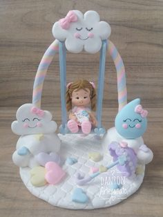 Hermoso para cuarto de baby Baby Shower Cakes, Baby Shower Themes, Baby Shower Decorations, Cloud Party, Ballerina Cakes, Baby Birthday Cakes, Clay Fairies, Baby Shawer, Clay Baby