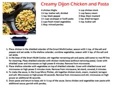 Tupperware Smart Multi Cooker Recipes Creamy Dijon Chicken and Pasta