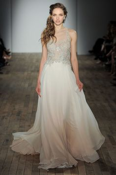 """Style 3756"" blush ombre silk chiffon A-line wedding dress with a sheer bateau neckline and an embroidered net bodice"