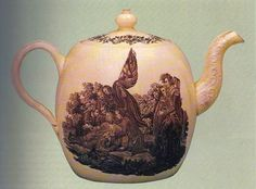 "Queen's ware teapot, over-glaze printed with the ""Death of Wolfe"" after Benjamin West, 1770's. Manor General James Wolfe was killed at the siege of Quebec in 1759."