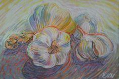 original painting / oil pastel / garlics / food by NielsenDenmark
