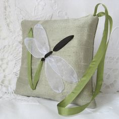 Dragonfly lavender sachet in silk ribbon embroidery by bstudio