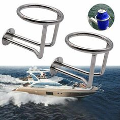 Boat Ring Cup Holder Stainless Steel Ringlike Drink Holder for Marine Yacht Boat Cup Holders, Drink Holder, Stainless Steel Rings, Boat Parts, Drinks, Boating, Ebay, Canisters, Hang In There