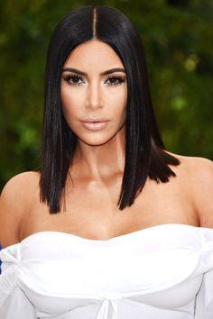 Kim Kardashian Met Gala 2017 Sleek Lob InStylecom kim k new haircut - New Hair Cut Sleek Hairstyles, Celebrity Hairstyles, Straight Hairstyles, Haircut Trends 2017, Hair Trends, Trending Haircuts, New Haircuts, Short Hair Cuts, Short Hair Styles