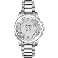 Bulova Bulova Women's Mother-of-Pearl Dial Stainless Steel Diamond... (£166) ❤ liked on Polyvore featuring jewelry, watches, stainless steel wrist watch, diamond jewellery, white watches, dial watches and white diamond watches