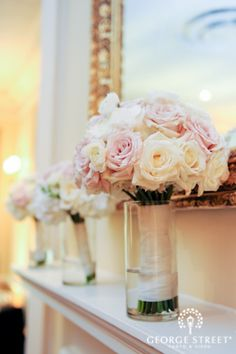 Romantic pale pink and white rose bouquet.