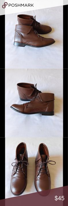Leather! Divine Brown Booties W/Shoelaces These pair of booties are really cute and adorable. Soft and comfy material. Gorgeous color and exquisite design. Size 7.5 Some signs of wear: Very good condition. Save $$$ on bundles Steve Madden Shoes Ankle Boots & Booties