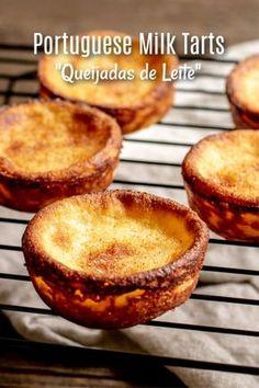 Portuguese Milk Tarts {Queijadas de Leite} - Home. Milk Recipes, Tart Recipes, Mexican Food Recipes, Sweet Recipes, Baking Recipes, Portuguese Egg Tart, Portuguese Desserts, Portuguese Recipes, Easy Desserts