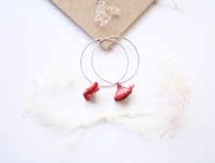 Lovely red hoop earrings ❣️ In indian silk and silver