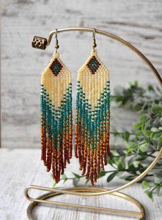 Long fringe earrings Beaded earrings Boho by HandmadeGiftsStore