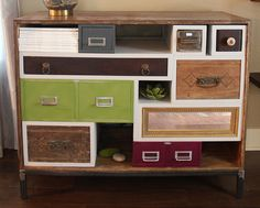 Flea market drawers made of wood and metal. Make MDF boxes for the  wooden drawers to slide into. (Karapaslaydesigns)