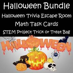 This bundle includes math task cards, a STEM activity and a FUN AND ENGAGING Digital Escape Room.This is a great Bundle to use the week of Halloween.Includes STEM project - Trick or Treat Bag Math Task Cards - Multiplying & Dividing Word Problems, Adding Whole Numbers, Subtracting Across Zero, D...