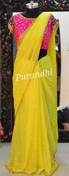 Yellow Dots Chiffon saree comes with stitched blouse Fancy Blouse Designs, Saree Blouse Designs, Kurta Designs, Yellow Saree, Yellow Blouse, Shiffon Saree, Desi Wedding Dresses, Saree Wedding, Designer Sarees Wedding