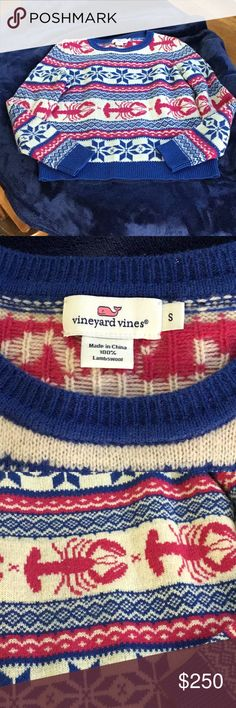 Vineyard Vines Fair Isle Lobster sweater Gently worn. Size small. Pink 6e2c17e9c933